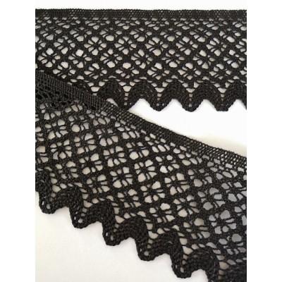 Dentelle aux fuseaux noir festonnée à motif géométrique Hauteur 7 cm Pièce 10 m Art.1843
