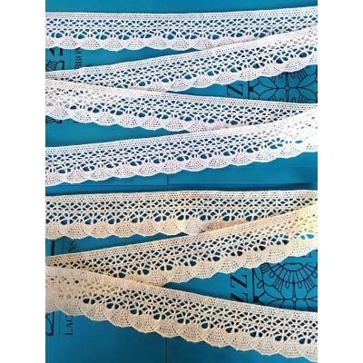 Pizzo Merletto cotone disegno ventaglio Altezza cm.5 pezza mt.10 art.1675