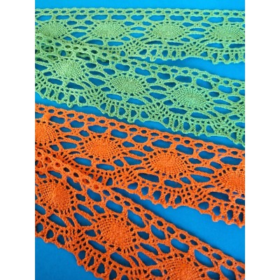 Bobbin Lace Trim Scalloped Green and Orange Width cm.5 pack mt.10 ART.0478