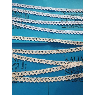 Scalloped Bobbin Cotton Lace Ribbon for Tailoring Decorations Sewing Height cm.2 Piece mt.10 Art.1223