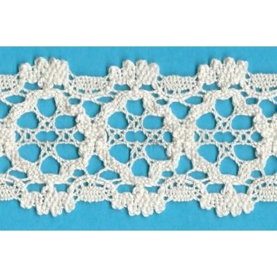 Bobbin lace in ecru double scalloped cotton Height cm.5.5 Art.1642
